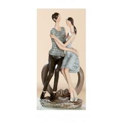 Skulptur Herzbogen Paar Liebespärchen braun beige, 18x12x24 cm