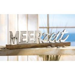 Gilde Schriftzug Meerzeit Holz Sockel Mango Alu