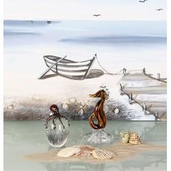 Gilde GlasArt Glasskulptur Seepferd auf Fuss