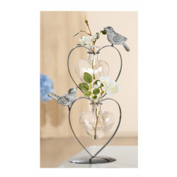 GILDE Dekoherzvase aus Metall und Glas mit zwei Vögeln, grau matt, 18x10x29 cm