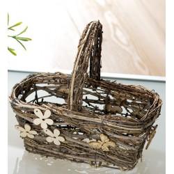 GILDE Dekokörbchen aus Naturholz mit Henkel, 20x28x28 cm