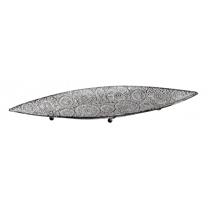 Formano Moderne Dekoschale Oriental grau weiss oval 20x64 cm