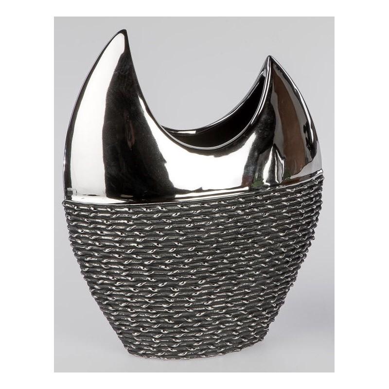 formano edle Blumenvase Black Rope aus Keramik, 30 cm