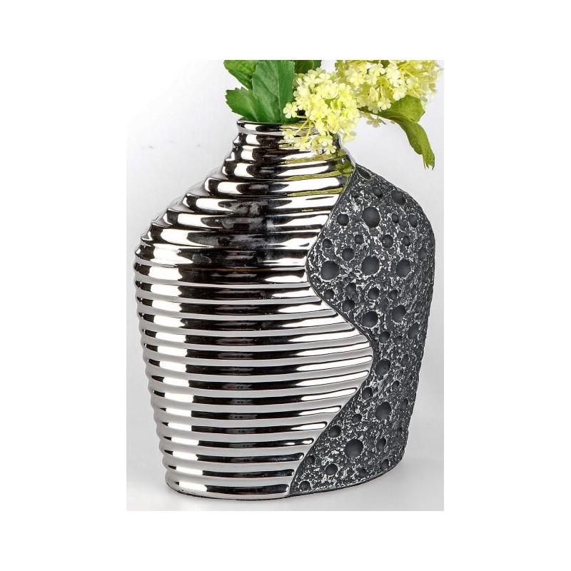 formano edle Blumenvase Stone silber aus Keramik, 20x25 cm