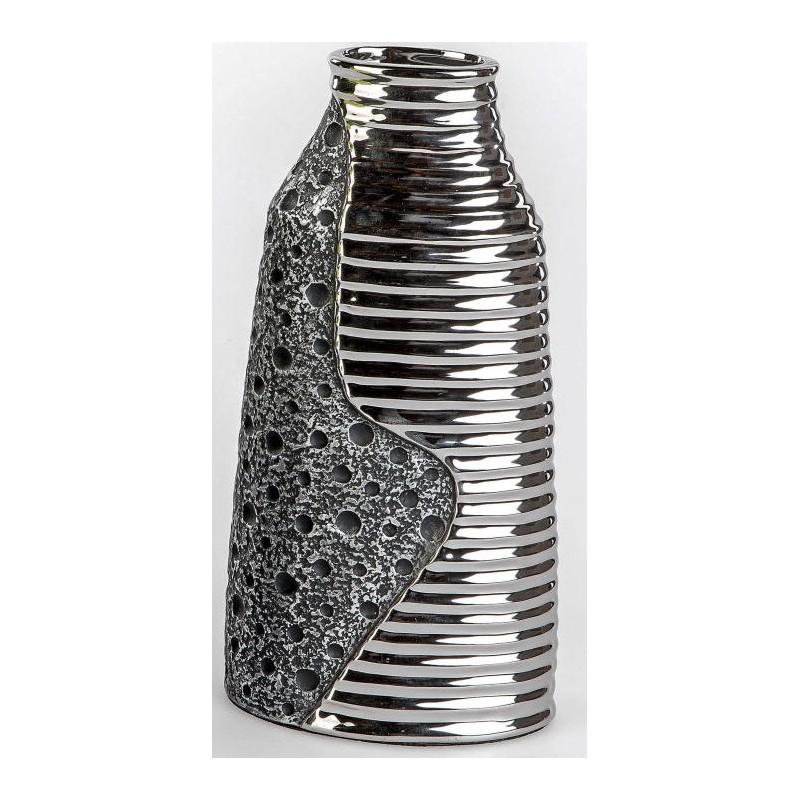 formano edle Blumenvase Stone silber aus Keramik, 34 cm