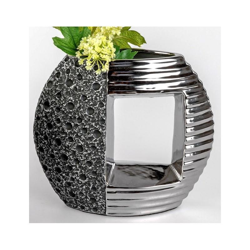 formano edle Blumenvase Stone silber aus Keramik, 27 cm