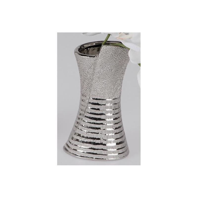 formano edle Blumenvase mit Silberstreifen, 20 cm