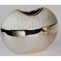 formano Blumenvase champagner aus Keramik relifiert, 21x17 cm