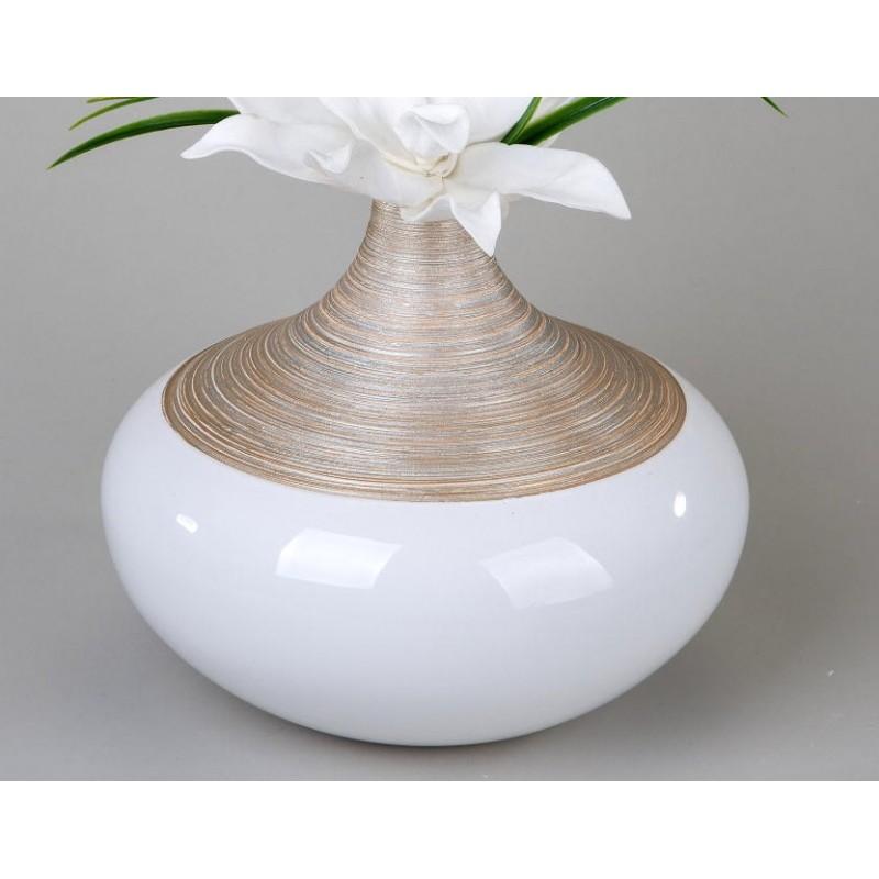 formano Vase champagner creme aus Keramik, 23x27 cm