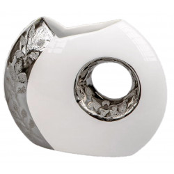 Formano Moderne Vase mit Loch in weiß silber 26 cm