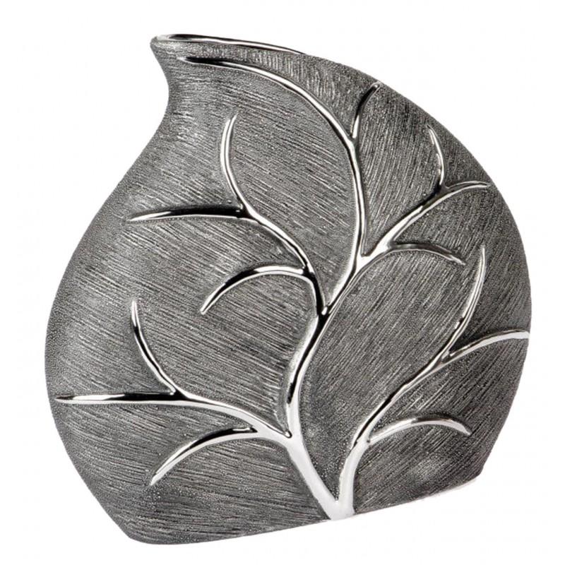 Formano antike Blumenvase Baum in silber aus Keramik 26x26 cm
